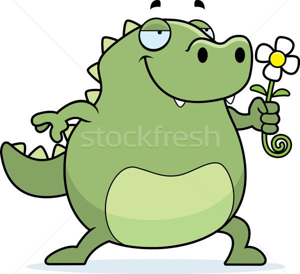Jaszczurka kwiat szczęśliwy cartoon Daisy Zdjęcia stock © cthoman