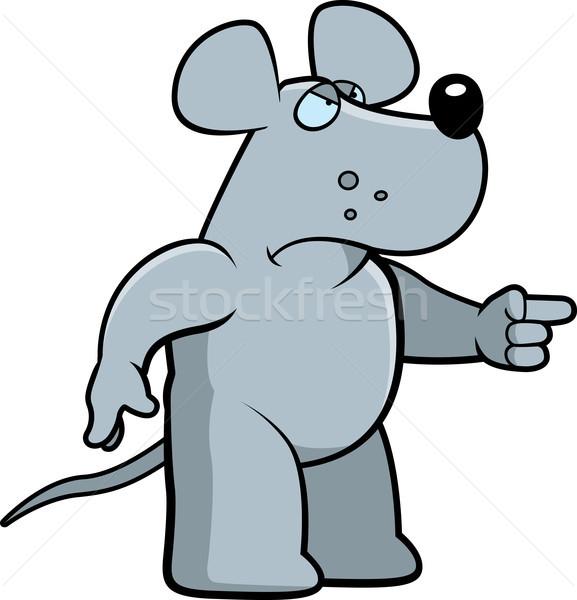 Boos rat cartoon naar wijzend Stockfoto © cthoman