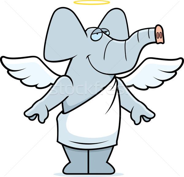 Elefante angelo felice cartoon halo Foto d'archivio © cthoman