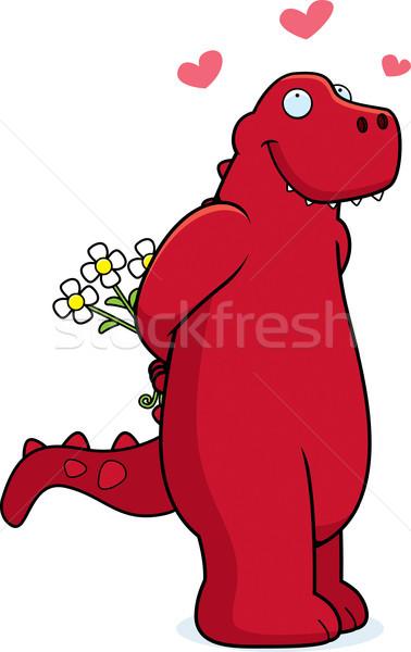 Dinozor sevmek mutlu karikatür çiçekler kırmızı Stok fotoğraf © cthoman