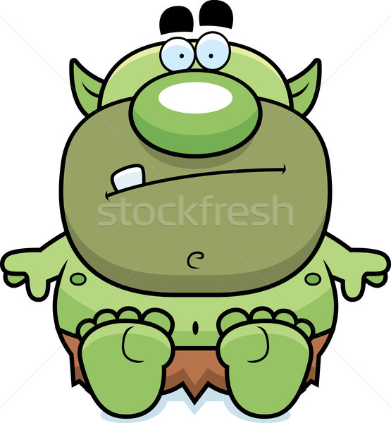 Stock photo: Cartoon Goblin Sitting