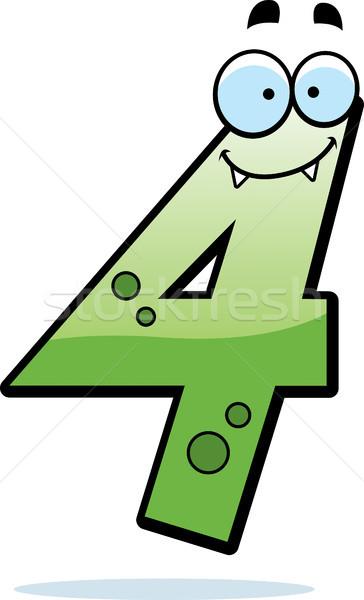 числа четыре монстр Cartoon иллюстрация улыбаясь Сток-фото © cthoman