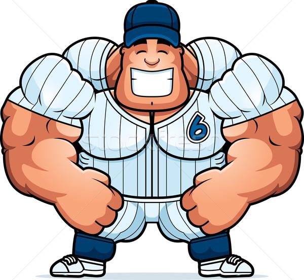 Desenho animado jogador de beisebol ilustração muscular fitness homens Foto stock © cthoman