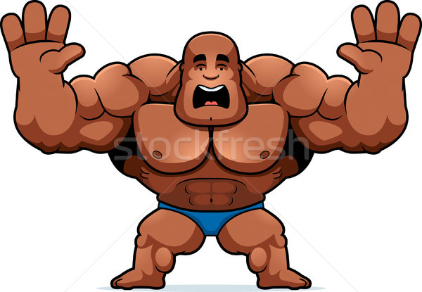 Karikatür vücut geliştirmeci korkmuş örnek bakıyor spor Stok fotoğraf © cthoman