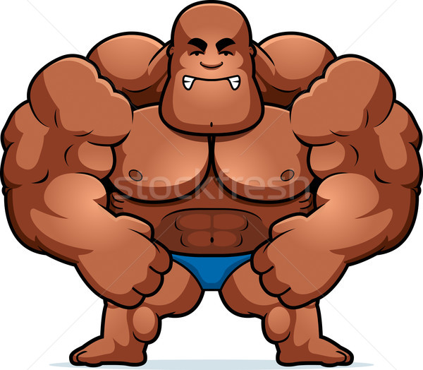 Cartoon bodybuilder pazza illustrazione guardando uomo Foto d'archivio © cthoman