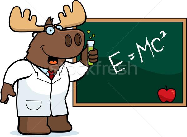 Cartoon Moose scienziato illustrazione occhiali classe Foto d'archivio © cthoman