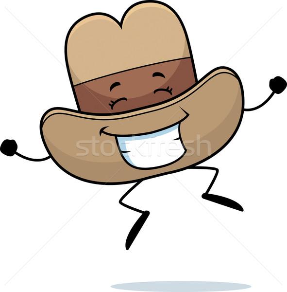 Cowboyhoed springen gelukkig cartoon glimlachend Stockfoto © cthoman