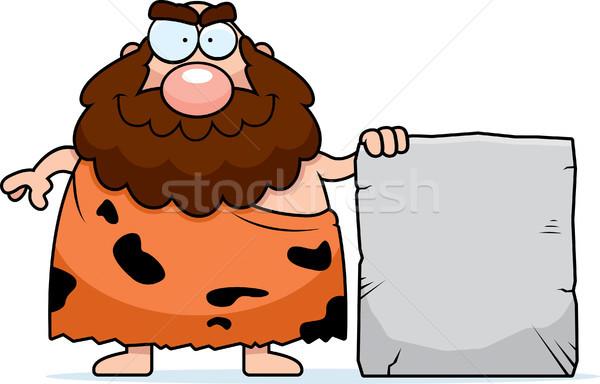 Höhlenmensch Zeichen glücklich Karikatur Stein Stock foto © cthoman