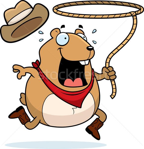 Rodeo hamster mutlu karikatür çalışma kovboy Stok fotoğraf © cthoman