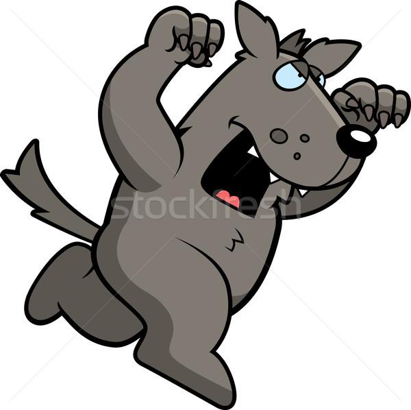 Cartoon wolf lopen aanval uit Stockfoto © cthoman