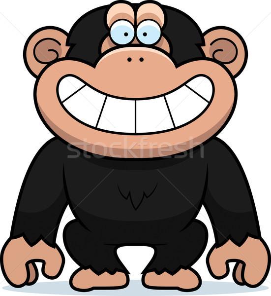 Karikatur Schimpanse grinsen Illustration Schimpansen grinsend Stock foto © cthoman