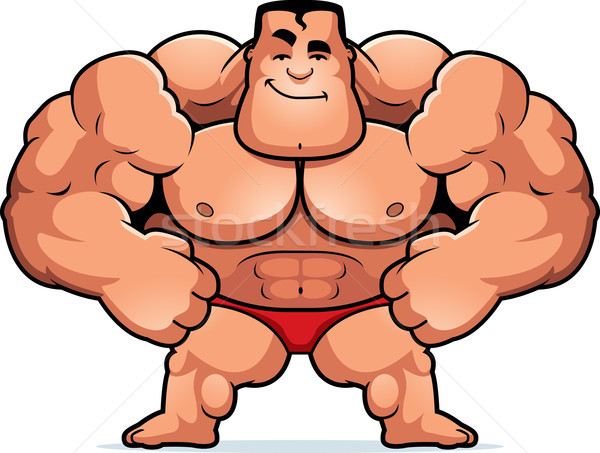 Cartoon kulturysta ilustracja patrząc fitness sportowe Zdjęcia stock © cthoman