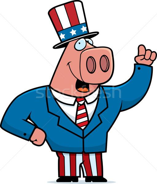 愛国的な 豚 幸せ 漫画 スーツ 動物 ストックフォト © cthoman