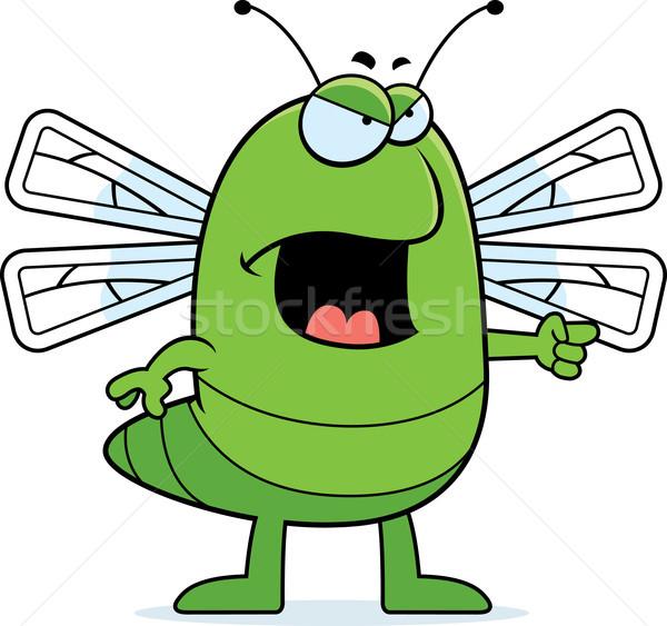 Foto stock: Zangado · libélula · desenho · animado