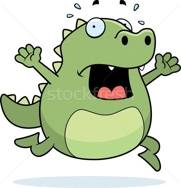 Jaszczurka panika cartoon uruchomiony Zdjęcia stock © cthoman