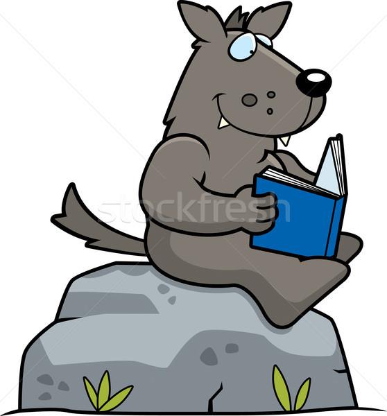 Сток-фото: Cartoon · волка · чтение · сидят · рок · книга