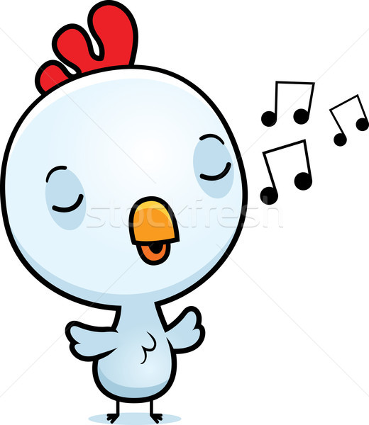 Cartoon Baby Rooster Singing Stock photo © cthoman