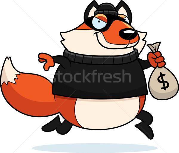 Stock fotó: Rajz · róka · betörő · illusztráció · lop · pénz