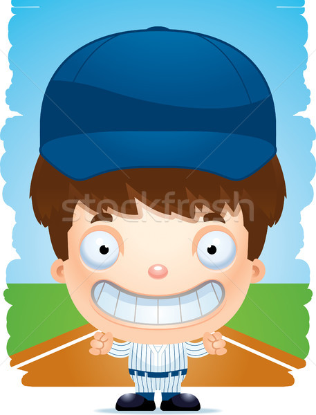 Cartoon Boy Baseball Player Smiling Stock photo © cthoman