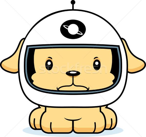 Karikatür öfkeli astronot köpek yavrusu bakıyor Stok fotoğraf © cthoman