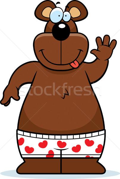 Rajz medve boxeralsó illusztráció boxoló rövidnadrág Stock fotó © cthoman