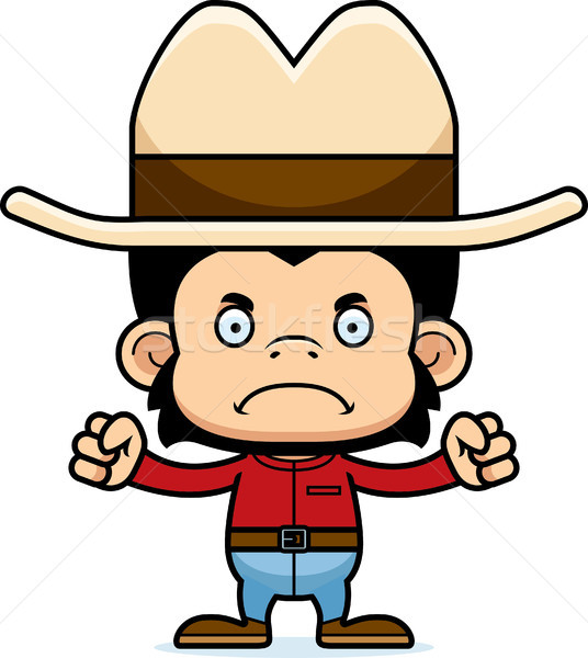 Rajz mérges cowboy csimpánz néz Stock fotó © cthoman