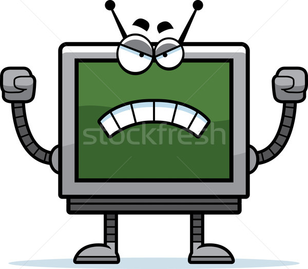 Zły monitor komputerowy cartoon ilustracja robot patrząc Zdjęcia stock © cthoman
