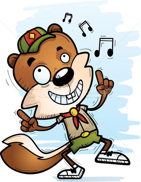 Karikatür erkek sincap izci dans örnek Stok fotoğraf © cthoman
