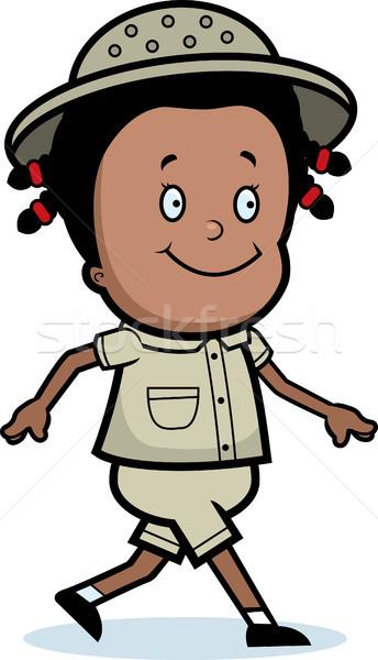 Explorador caminhada feliz desenho animado criança sorridente Foto stock © cthoman