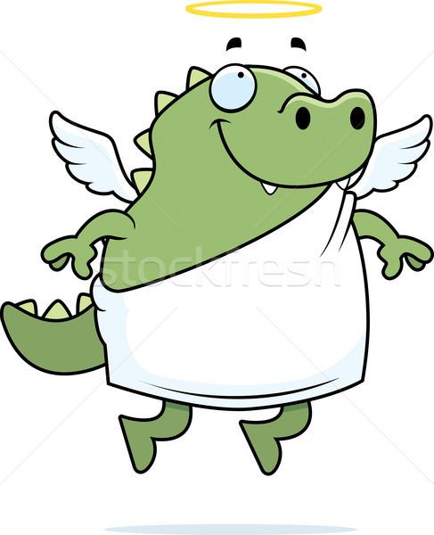 Lagarto ángel feliz Cartoon halo Foto stock © cthoman