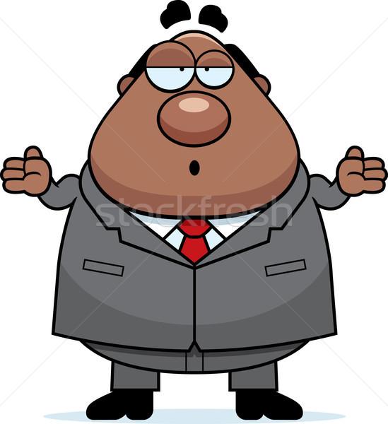 Cartoon baas verward business man stropdas Stockfoto © cthoman