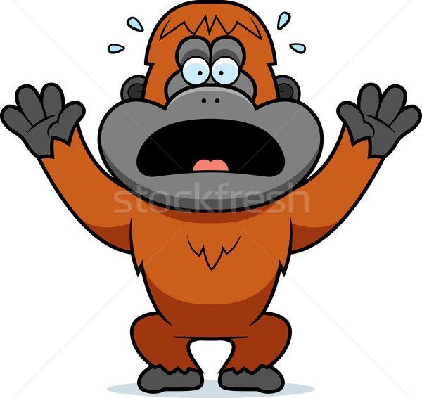 Cartoon Orangutan Panicking Stock photo © cthoman