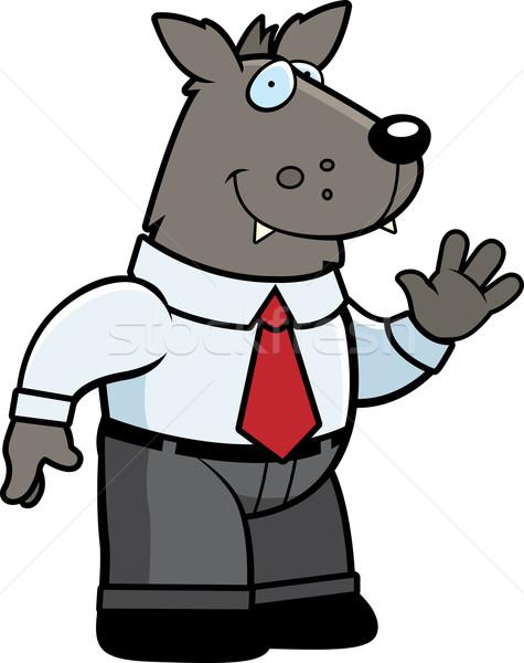 Сток-фото: волка · бизнесмен · счастливым · Cartoon · улыбаясь