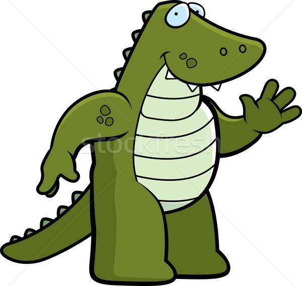 Jacaré feliz desenho animado sorridente lagarto Foto stock © cthoman
