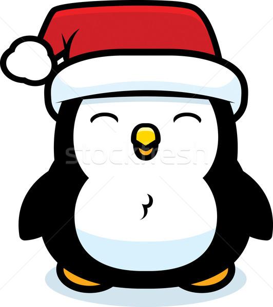 Cartoon Рождества пингвин ребенка Hat птица Сток-фото © cthoman