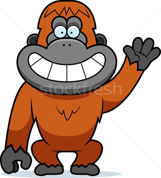 Karikatür orangutan örnek dişler gülen Stok fotoğraf © cthoman