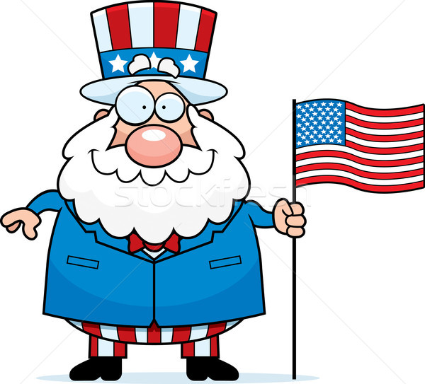 Cartoon patriotique homme pavillon illustration drapeau américain Photo stock © cthoman