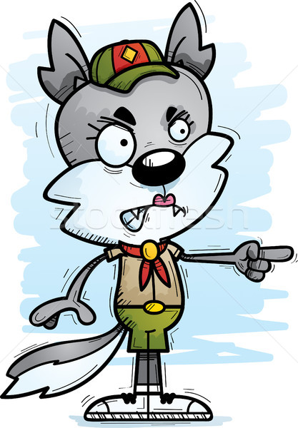 Angry Cartoon Female Wolf Scout Stock photo © cthoman