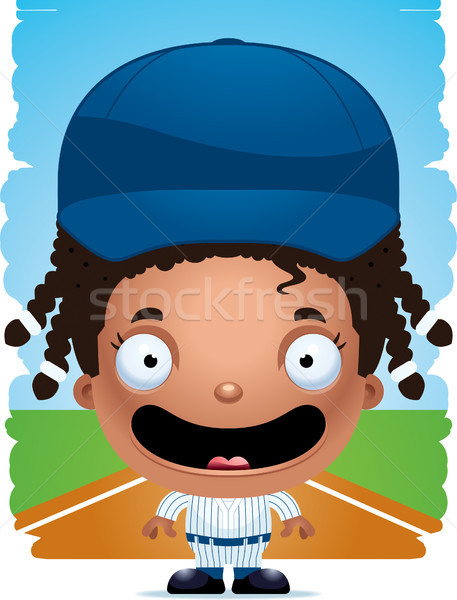 Cartoon fille joueur de baseball souriant illustration enfants Photo stock © cthoman