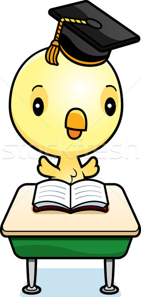 Cartoon ребенка куриного студент иллюстрация сидят Сток-фото © cthoman