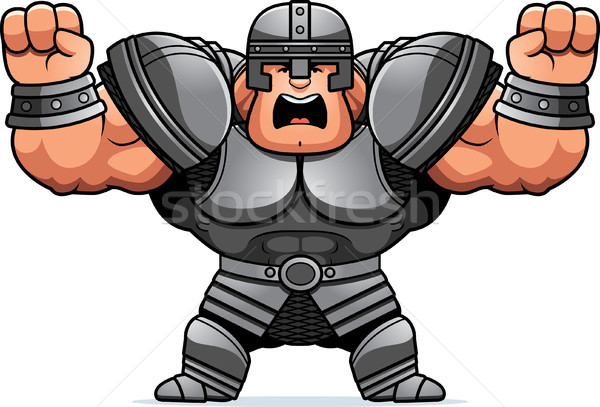 Cartoon guerrier colère illustration regarder homme Photo stock © cthoman