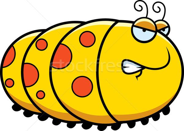 Foto stock: Zangado · desenho · animado · lagarta · ilustração · bicho