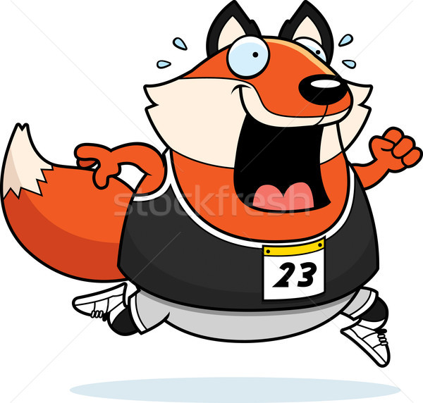 Photo stock: Cartoon · Fox · courir · course · heureux · exercice