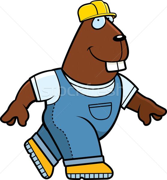 строителя бобр счастливым Cartoon ходьбе улыбаясь Сток-фото © cthoman