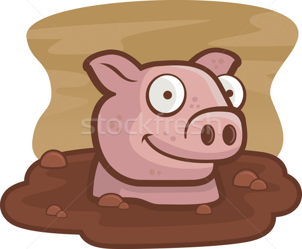 Wieprzowych błoto szczęśliwy cartoon gospodarstwa zwierząt Zdjęcia stock © cthoman
