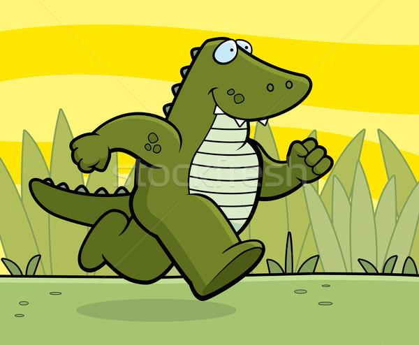 аллигатор работает счастливым Cartoon улыбаясь Сток-фото © cthoman