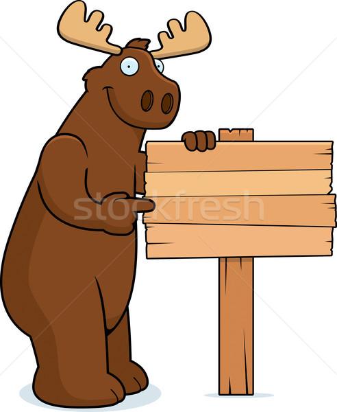 ムース にログイン 幸せ 漫画 木材 ストックフォト © cthoman