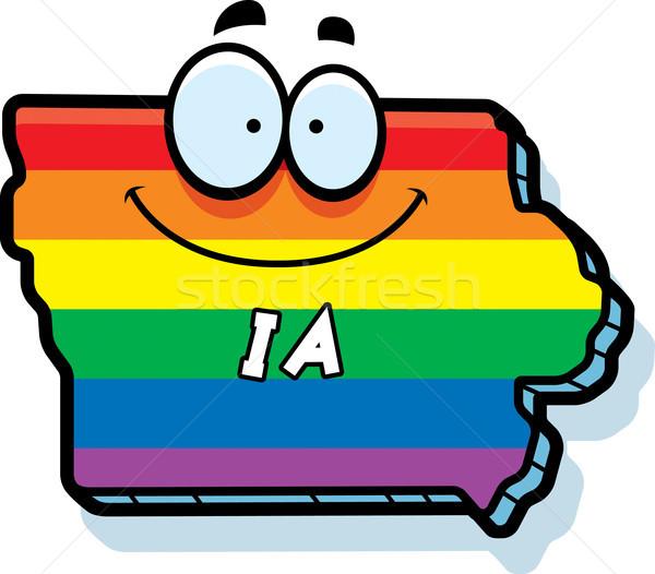 Cartoon Iowa matrimonio gay illustrazione sorridere Rainbow Foto d'archivio © cthoman