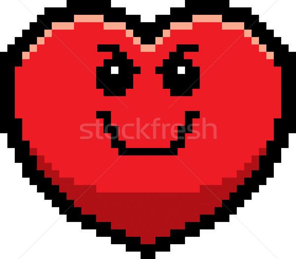 Bösen Karikatur Herz Illustration Geist schauen Stock foto © cthoman