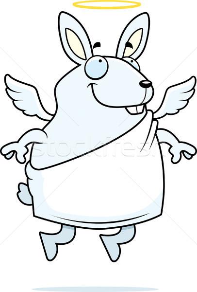 Coniglio angelo felice cartoon halo Foto d'archivio © cthoman